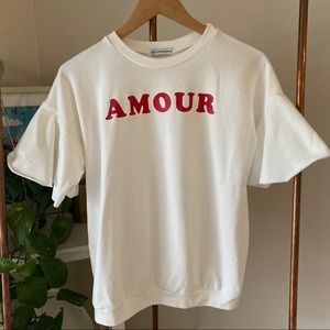 Cents of Style Amour Ruffe Sleeve Top M